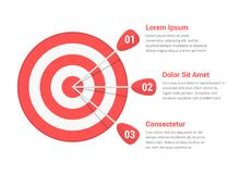 Target with Three Arrows. Three steps or options infographics Royalty Free Stock Photo