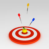 Target with three arrows. And yellow apple vector illustration