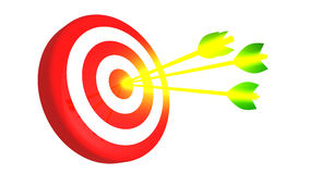 Target and three glowing golden arrows on white background, 3D illustration Stock Photos