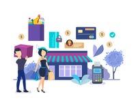 target706_1_ w supermarkecie Proces kupienie towary w sklepie, ochron zapłaty royalty ilustracja