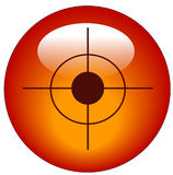 Target web icon or button. Red bullseye or target web button or icon - vector Stock Photo