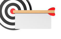 Target with white board. Success concept. Separated on white Royalty Free Stock Photos