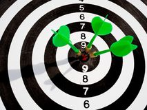 Free Target With Three Green Dart Focus On Bull`s Eye, Setting Challenging Business Goals And Ready To Achieve The Goal With Teamwork Royalty Free Stock Photography - 157283177