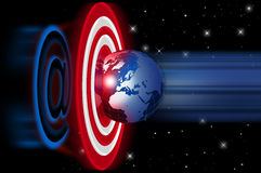 Target world. Target in space with internet symbol and globe Stock Photos