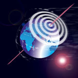 Target the world for success. An image showing the world globe or map with a set of target rings in the sky above it - target for success - bullseye Royalty Free Stock Photography