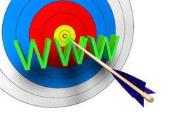 Target WWW. Center with an arrow on www Stock Images