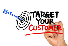 Target your customer hand drawing on whiteboard Royalty Free Stock Images