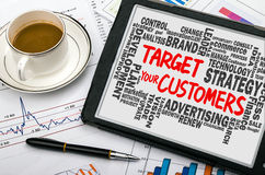 Target your customers with related word cloud handwritten on tab Stock Images