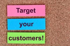 Target your customers words on notes stock photo