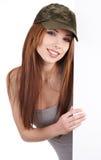 target1130_0_ uśmiechniętej kobiety pusta deska Zdjęcie Stock