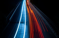 TARGET1195_0_ i abstrakcjonistyczni światła w czerwonym i błękitny Fotografia Stock
