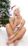 target1199_0_ telefon komórkowy dziewczyny Santa Obrazy Royalty Free