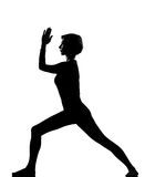 target1219_0_ sprawności fizycznej virabhadrasana kobiety joga Zdjęcie Stock