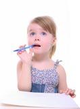 target1323_1_ myślących potomstwa dziewczyny wyobrażenie Zdjęcia Stock