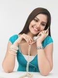 target149_0_ telefon kobieta Obrazy Stock