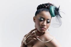 target1501_0_ kobiet potomstwa piękny kapeluszowy retro styl Zdjęcie Royalty Free