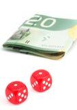 target1589_1_ rolkę rachunków kostka do gry Zdjęcie Stock