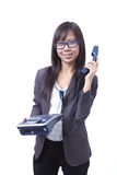 target1842_1_ uśmiechu telefoniczny kobiet target1846_1_ Zdjęcie Stock