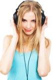 target2384_1_ uroczą muzykę dziewczyna hełmofony zdjęcia stock