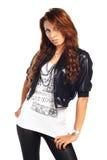 target2689_0_ seksownej kobiety odosobniona brunet kurtka Obrazy Stock