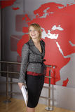 target2853_0_ tv piękny blond dziennikarz Fotografia Stock