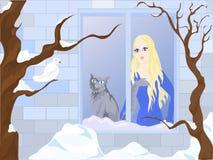 target3162_0_ okno kot dziewczyna royalty ilustracja