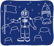 TARGET383_1_ astronauta na planecie Zdjęcia Stock