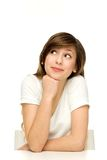 TARGET412_0_ na stole atrakcyjna kobieta Fotografia Stock