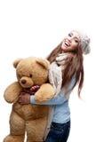 TARGET495_1_ miękkiej części duży zabawkę zima uśmiechnięta przypadkowa dziewczyna Zdjęcie Royalty Free