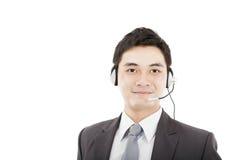 TARGET646_0_ słuchawki przystojny biznesmen obrazy stock