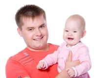 TARGET689_1_ jego dziecka z uśmiechem szczęśliwy ojciec obrazy stock