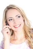 TARGET744_0_ na telefon komórkowy piękna uśmiechnięta blondynka Fotografia Stock