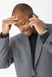 TARGET80_0_ na telefonie Afro biznesmen Zdjęcie Royalty Free