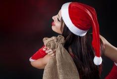 TARGET819_0_ Santa kostium seksowna kobieta Claus Zdjęcia Stock