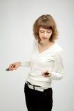 TARGET819_1_ dwa telefon komórkowy piękna kobieta Obrazy Stock