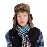 TARGET830_0_ futerkowego kapelusz portret nastolatek Obrazy Stock