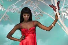 target852_0_ kobiety czarny puszek Obraz Royalty Free