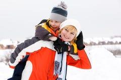 target925_0_ syn macierzystą zima piękny dzień Obrazy Stock