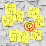 Targeted Customer in Bulls-Eye - Sticky Notes vector illustration