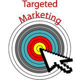 Targeted Marketing pixel cursor clicks bulls eye Stock Photo