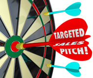 Targeted Sales Pitch Dart Board Finding Customers Clients Stock Photos