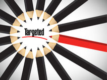Targeted sign around a set of pencils. Illustration design over white Stock Photography