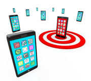 Targeted Smart Phone Application Icons for Apps Stock Images
