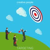 Targeting aiming business marketing dart flat isometric vector. Targeting aiming flat 3d isometry isometric business marketing concept web vector illustration Stock Images