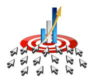 Targeting business online success concept. Illustration Royalty Free Stock Photos