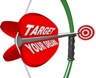 Targeting Your Dreams Bow Arrow Bulls-Eye Target. A red arrow is marked Is Target Your Dreams and is aimed on a bow at a bulls-eye that represents achieving your vector illustration