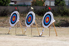 Targets. Three targets during a bow competition at cassano murge in italy Royalty Free Stock Photography