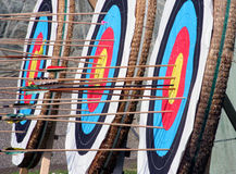 Targets. Colored targets and arrows on medieval festival in Croatia Stock Images