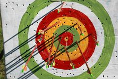 Targets. Many-colored targets for shooting from bow or arbalest into the purpose in the summer park Stock Photo