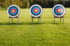 Targets. Three targets on a green meadow Royalty Free Stock Images
